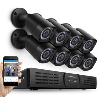 Amcrest 16 channel DVR with 8 cameras